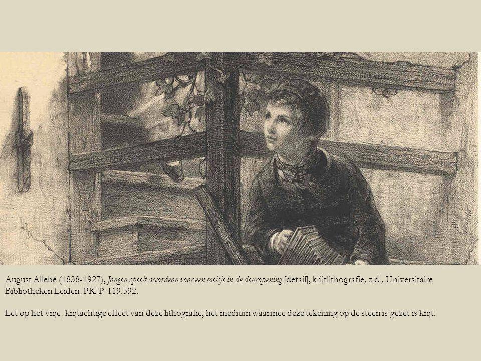 August Allebé (1838-1927), Jongen speelt accordeon voor een meisje in de deuropening [detail], krijtlithografie, z.d., Universitaire Bibliotheken Leiden, PK-P-119.592.